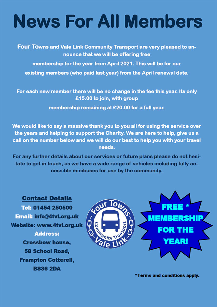 Four Towns and Vale Link Community Transport poster (all text content in page)