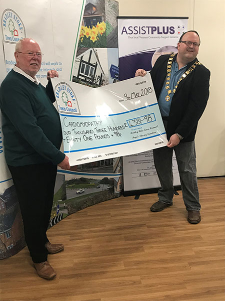Outgoing Mayor's Charity Cheque presentation to Cardiomyopathy UK
