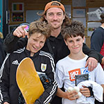 Skateboard open: Alex Howden (14) 1st; Joe Larcombe (13) 3rd; Sol Pollet (11) 2nd not in photo