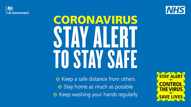 "Coronavirus poster which says ""Stay alert to stay safe"""